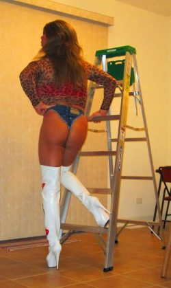 Dumb Slutty Bimbo Trying to Figure Out a Ladder