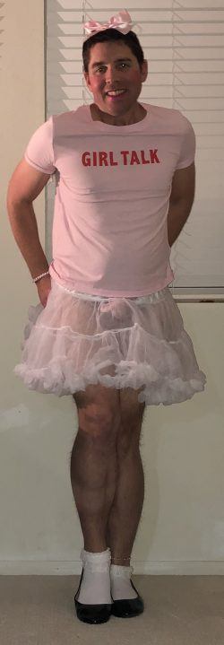 Since I am not a real man and only a sissy this is what two dominant college girls made me wear  ...