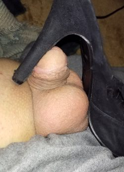 Tiny dick where it belongs under a high heel