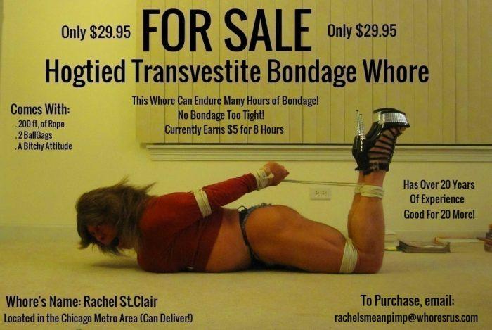 FOR SALE — Hogtied Transvestite Bondage Whore — CHEAP!