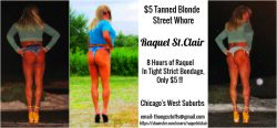 Raquel St.Clair the Tanned Blonde Bondage Street Whore