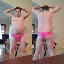 chubby straight boy in Lady GaGa sissy panties