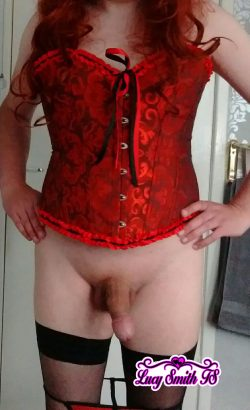 Sissy Slut Lucy Smith TS Posing In Red Corset