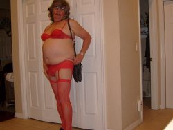 Tina TinyClitty dressed to go visit the real boys
