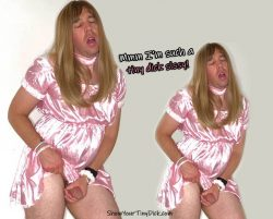 Mark the tiny dick sissy in pink satin