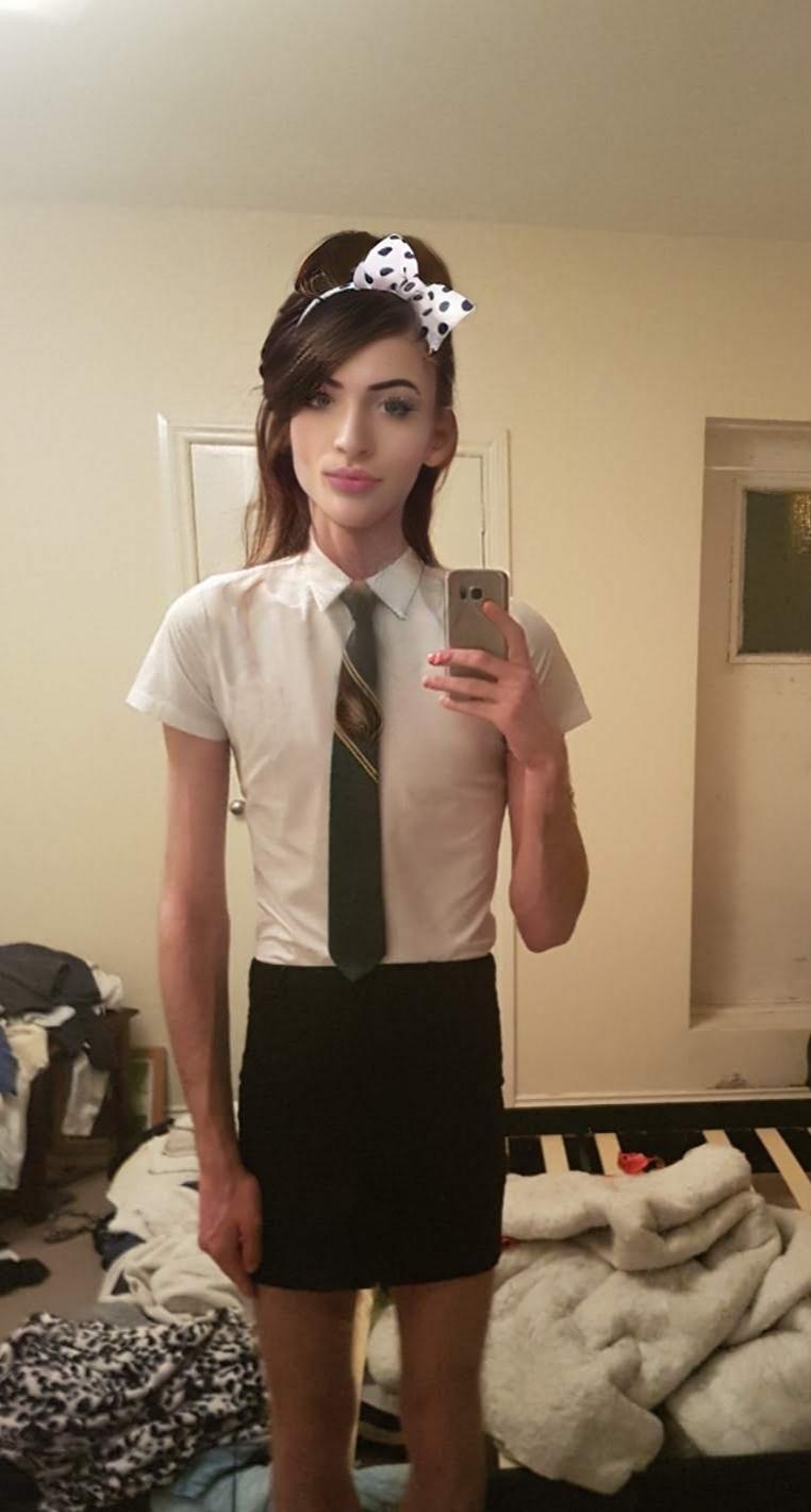 Exposed sissy schoolgirl Kylie in uniform