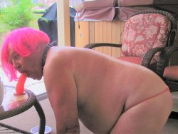 PooPoo outside in tiny pink thong, dog tail butt plug, collar and pink wig sucking dildo while v ...
