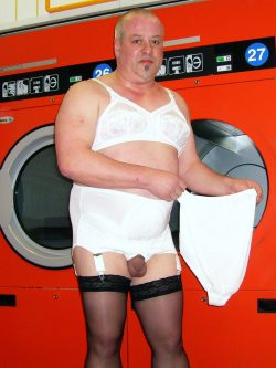 Posing in a self service laundry