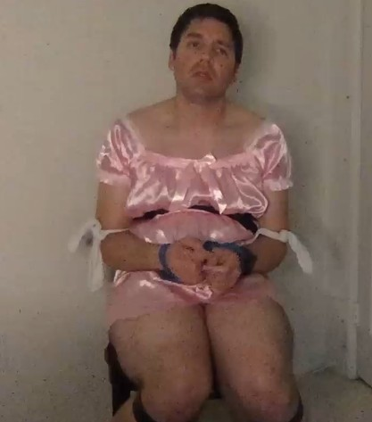 Satin sissy got tied up and teased till he cried