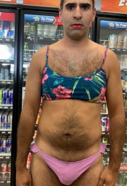 Sissy Fag Stephanie sent into store to show off her slutty bikini and buy drinks