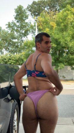 Sissy Fag Stephanie in her bikini pumping gas