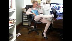 BOB MILGATE – COMPLETELY EXPOSED EXPOSED WEARING A SHEER WHITE BODYSTOCKING AND HIGH HEELS ...
