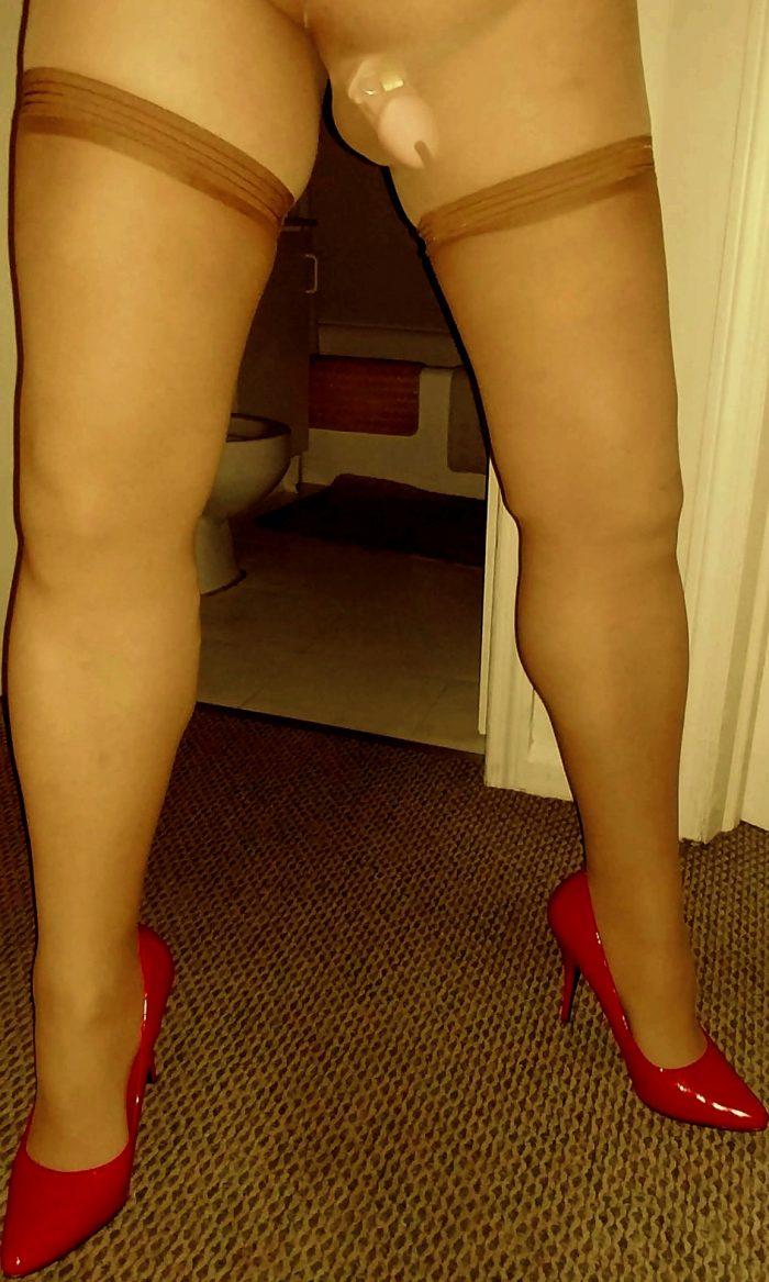 Slutty sissy caged in heels