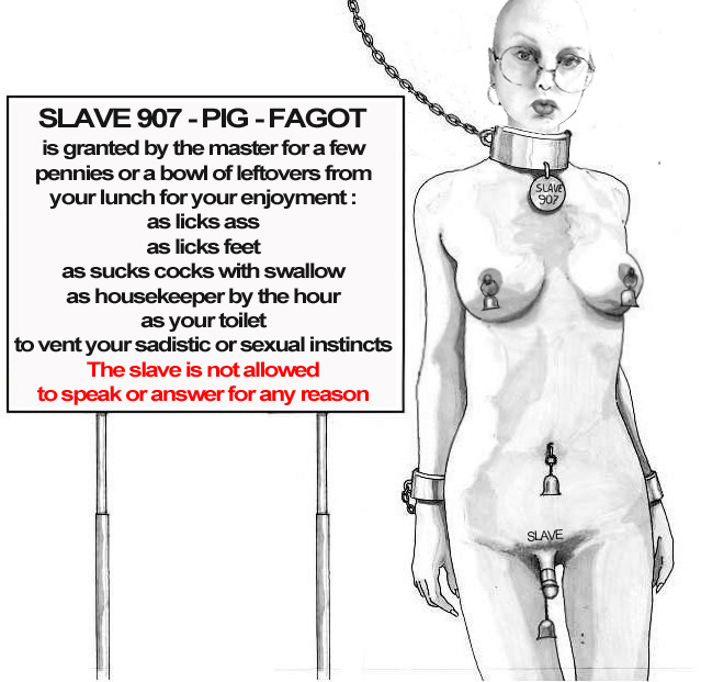 Slave 907 -PIG -FAGOT is granted by the master