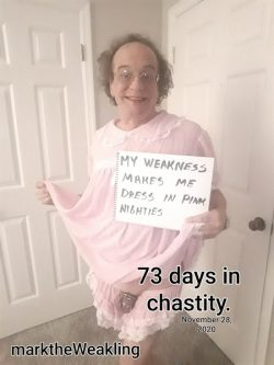 marktheWeakling 73 DAYS CHASTITY NEW PINK NIGHTIE
