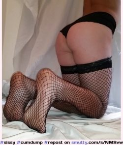 Exposed sissy butt slut in fishnets