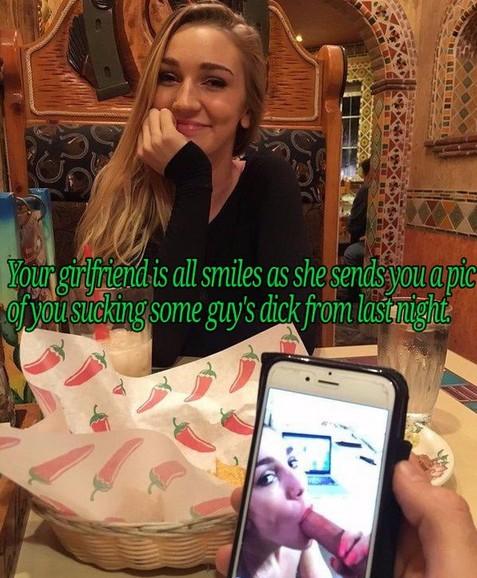 Your girlfriend loves reminding her sissy boyfriend that he sucks cock