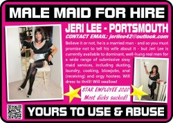 Sissy Maid for hire. yours to use and abuse
