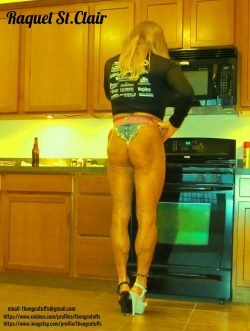 Tanned Blonde Slut Raquel St.Clair in the Kitchen