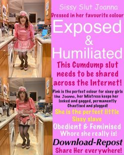 sissy slut Joanna in a mans kitchen, he blackmailed her and now she is soooo stuck!