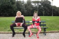 sissy sluts on the truck stop bench, samy waiting to be called for a blow or hand job, she' ...