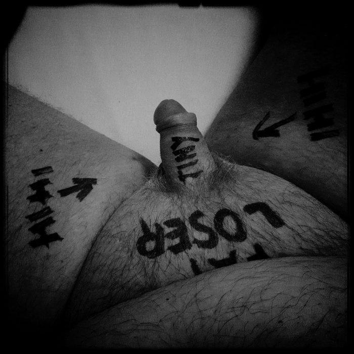 Fat loser exposes his tiny cock as ordered