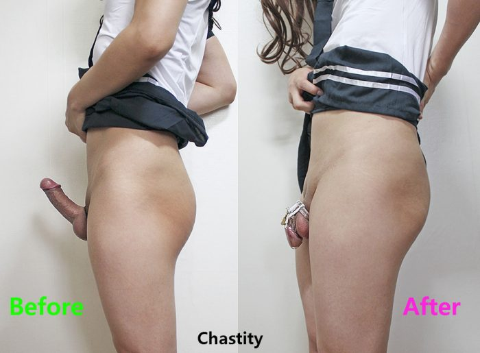 Before and after in locked chastity