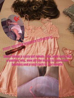 Pathetic pink chiffon sissy cockslut