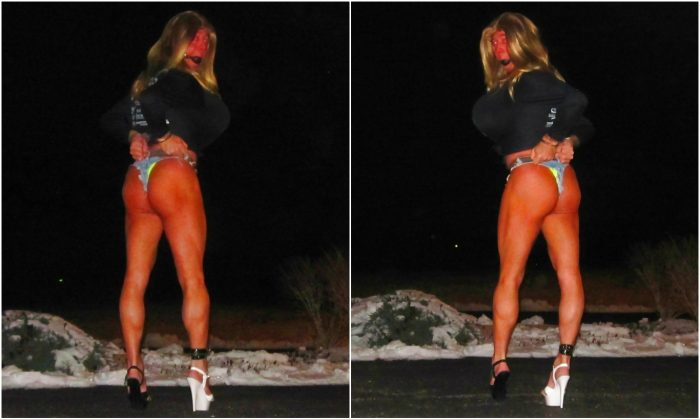 Raquel The Tanned Blonde Handcuffed Street Whore