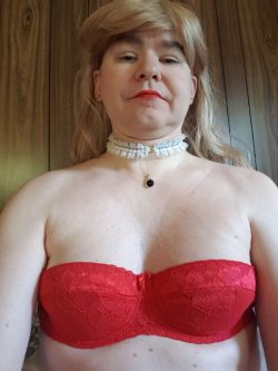 Sissy tits in a red bra