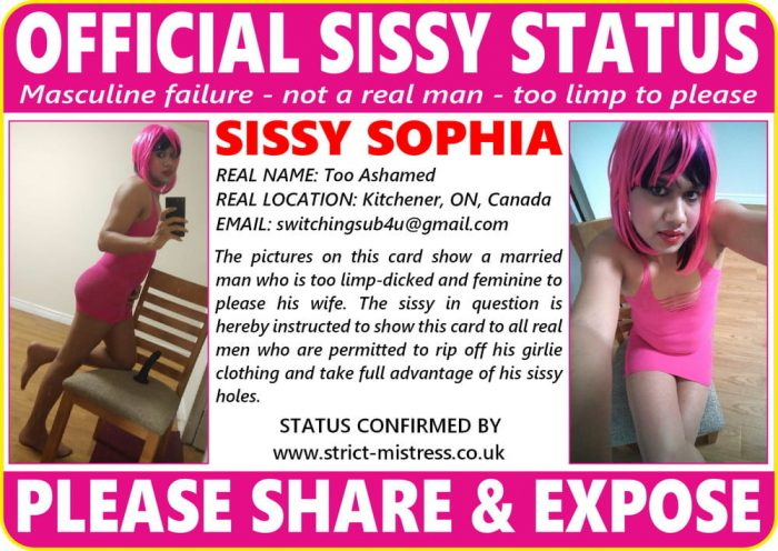sissy slut hands out her card for abuse from men, share the sissy