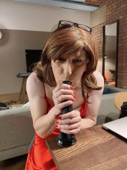 sissy slut Joanna, out on a date at her mans house, stealing a minute of practice before he come ...