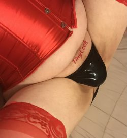 Is there a cock in those leather panties? Doubtful