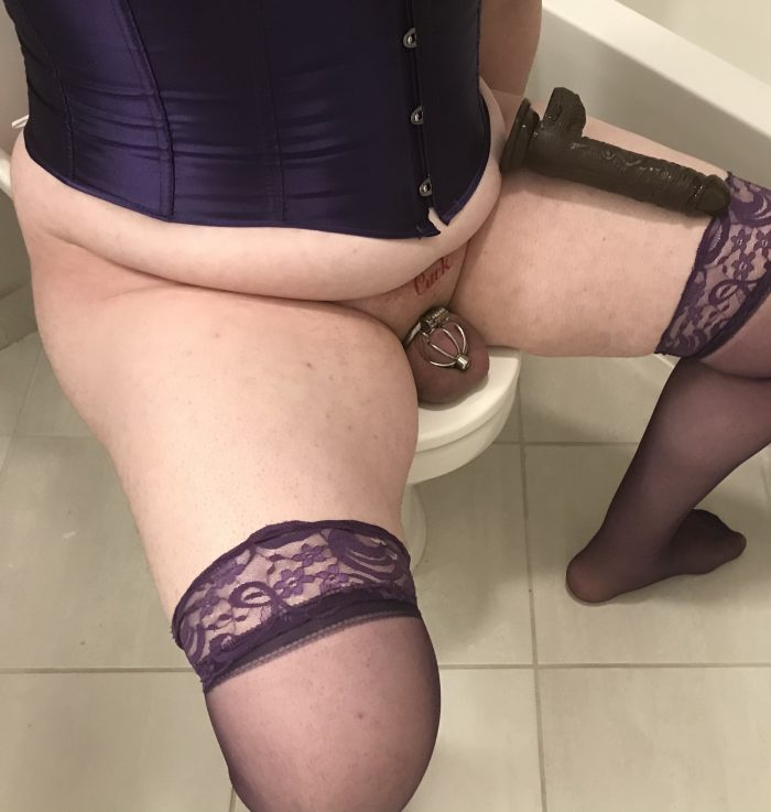 Cucky dressed nicely, with his dildo the size of his thigh