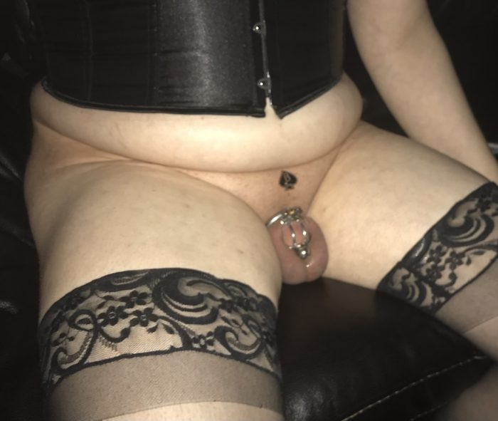 Content and dressed. Cucky watches his Queen squirt over and over again.