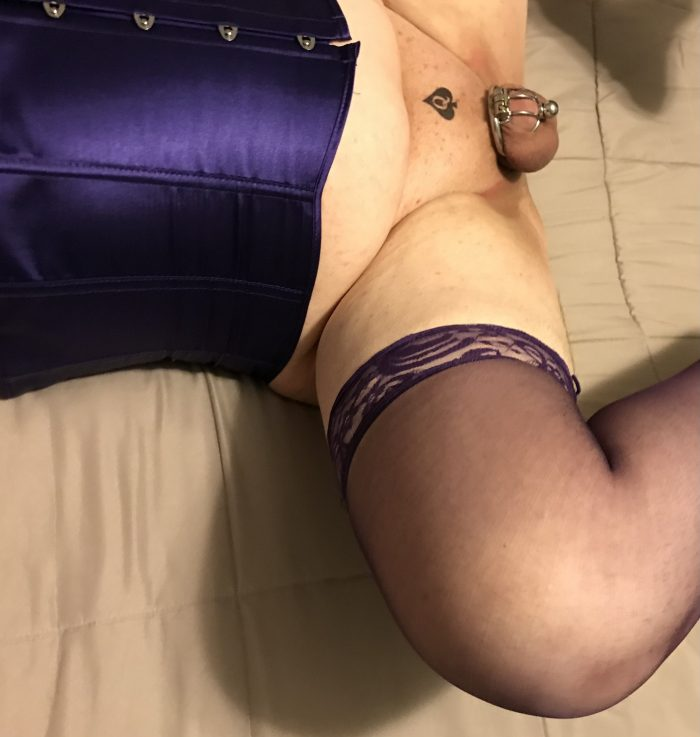 My pee pee is locked and I'm dressed in purple lingerie, ready to take big dicks. How about you?