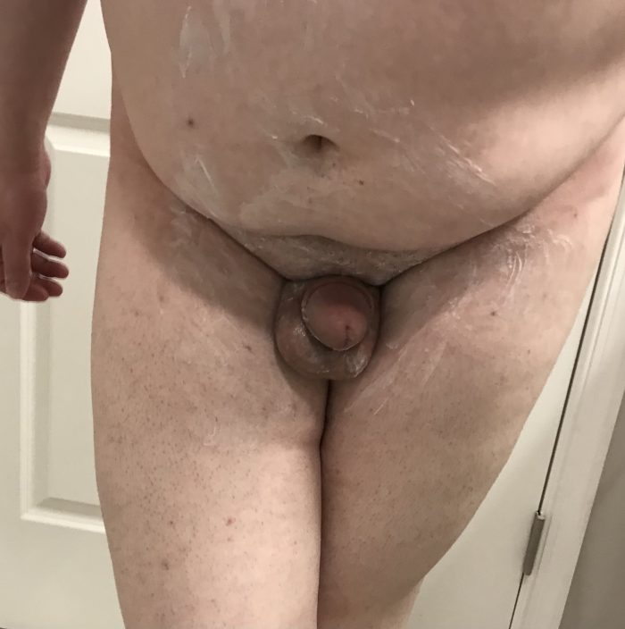 Naked, hair removal cream, and time to be shaved. Any questions?