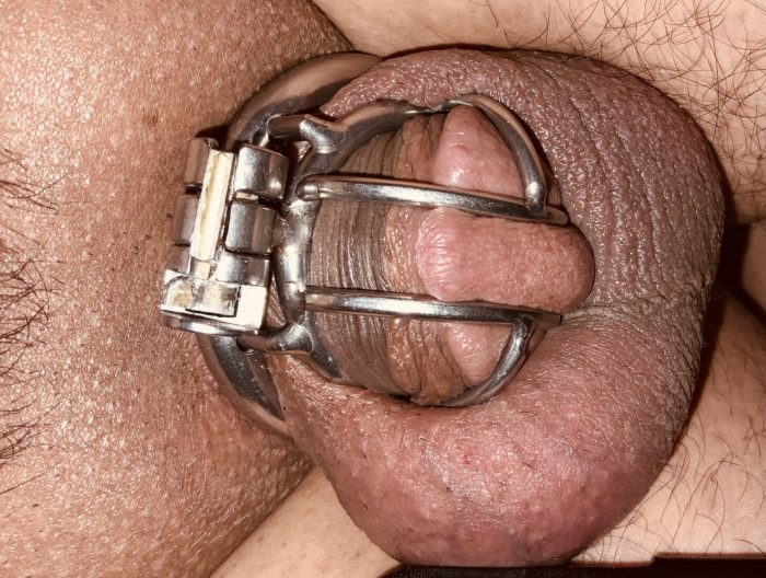 Sissy little caged clit