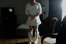 sissy faggot tommy coyle dressed all in white for her man, heading to her knees, she'll ob ...