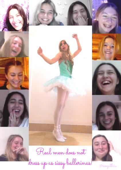 hahaha laugh at this cute sissy ballerina 😂😂😂😂 twitter name sissynthiia