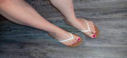 Watch flip flop feet on webcam