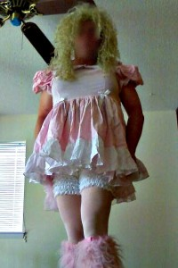 sissy faggot tommy coyle all dolled up for her man, she loves the look he makes her wear