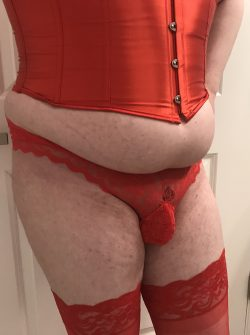 Sissy getting sassy in her red panties. I guess she enjoys showing off.