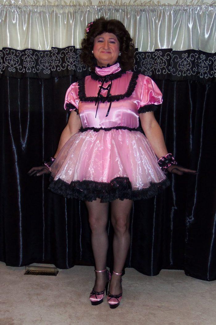 Posing in my pretty Prissy Sissy Gemina Dress