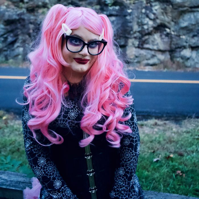 Outdoor goth sissy Chrissy