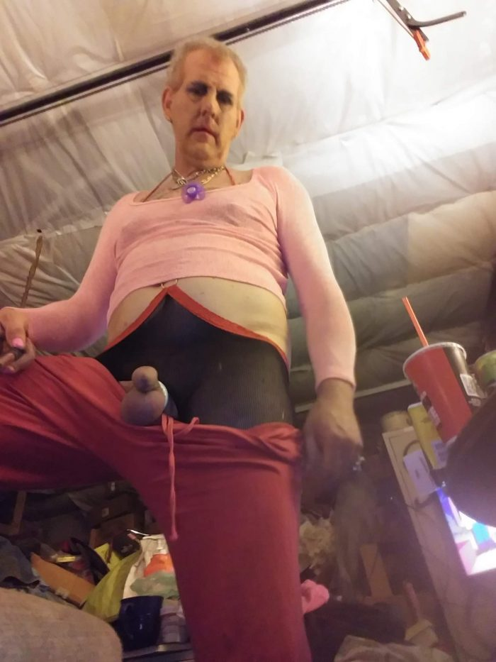Sissy faggot Clitty fully erect at 1 inch