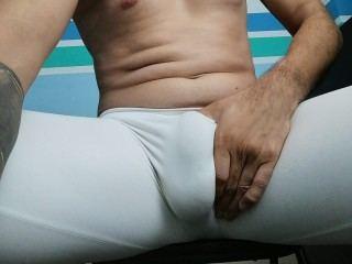 Master makes sissies worship his cock bulge