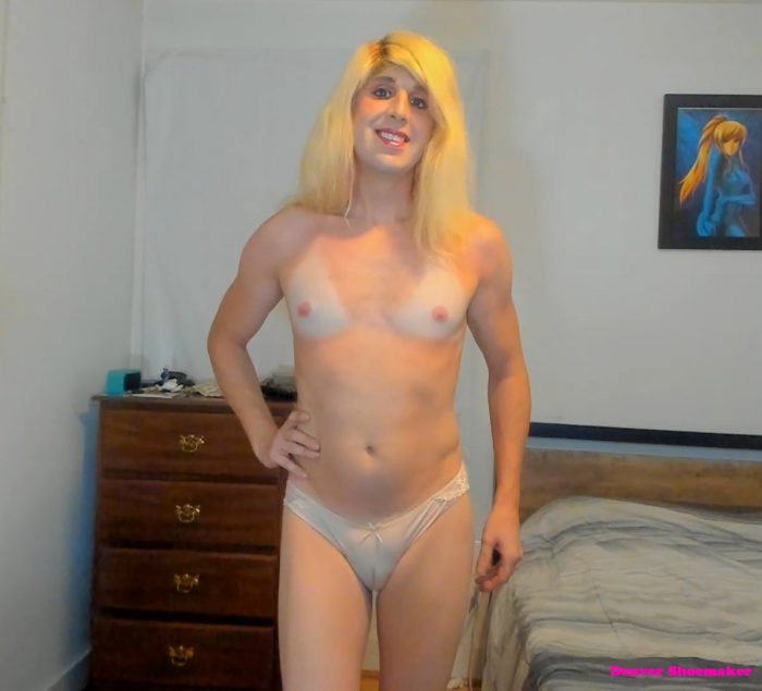 Topless tan line tits and camel toe slit by Denver Shoemaker