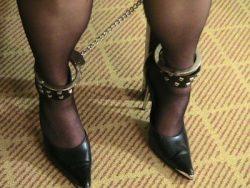 Leg cuffs and heels