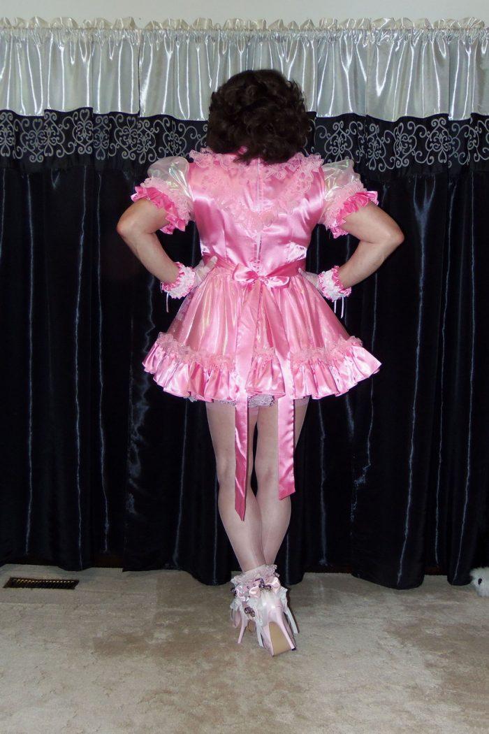 Posing in my pretty Satin-Organza Sissy Maid Dress
